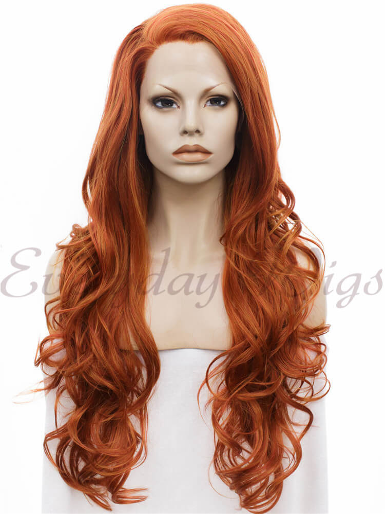 "24"" Blue to Mint Green Ombre Long Wavy Synthetic Lace Front Wig- edw044"