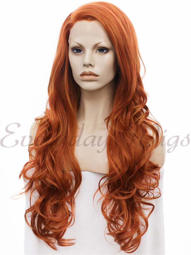 "24"" Brown Long Wavy Synthetic Lace Front Wig-edw044"