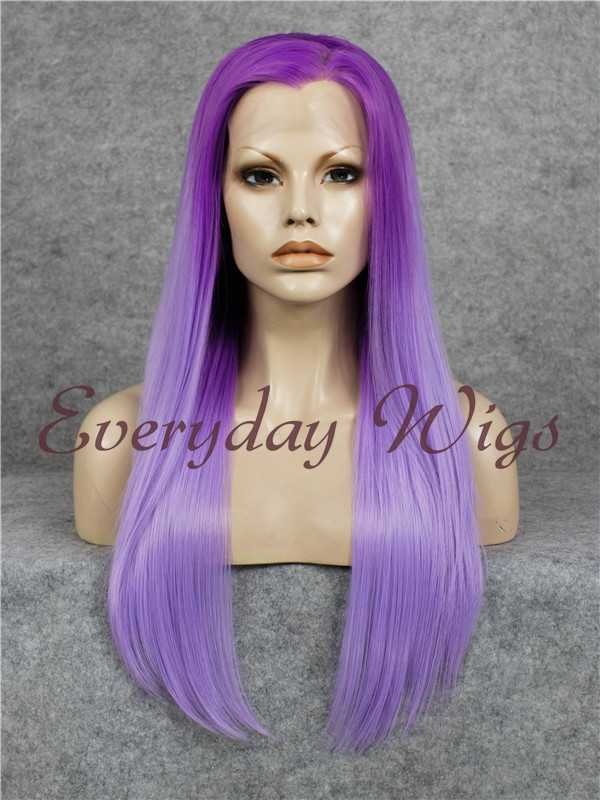 "24"" Ombre Purple Straight Synthetic Wig - edw045"