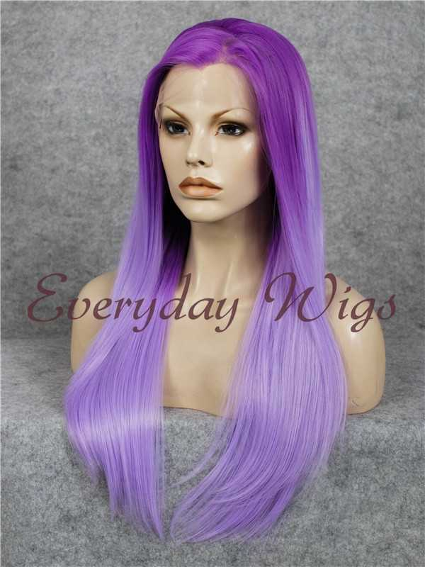 "24"" Lavender Purple Straight Synthetic Lace Front Wig - edw046"
