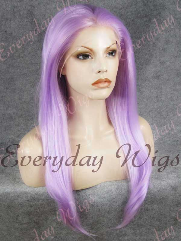 "24"" Lavender Long Straight Synthetic Lace Front Wig - edw047"