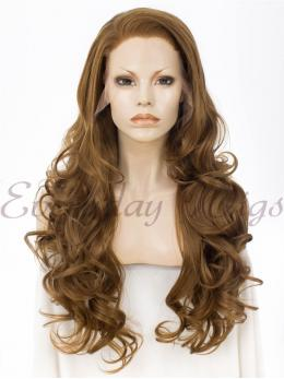 "24"" Brown Wavy Synthetic Lace Front Wig - edw048"