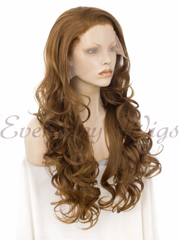 "24"" Red Long Straight Synthetic Lace Front Wig - edw048"