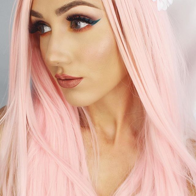 "24"" Pink Long Straight Synthetic Lace Front Wig - edw049"