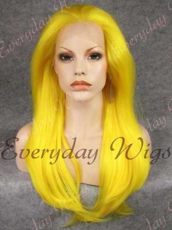 "24"" Yellow Long Straight Synthetic Lace Front Wig - edw051"