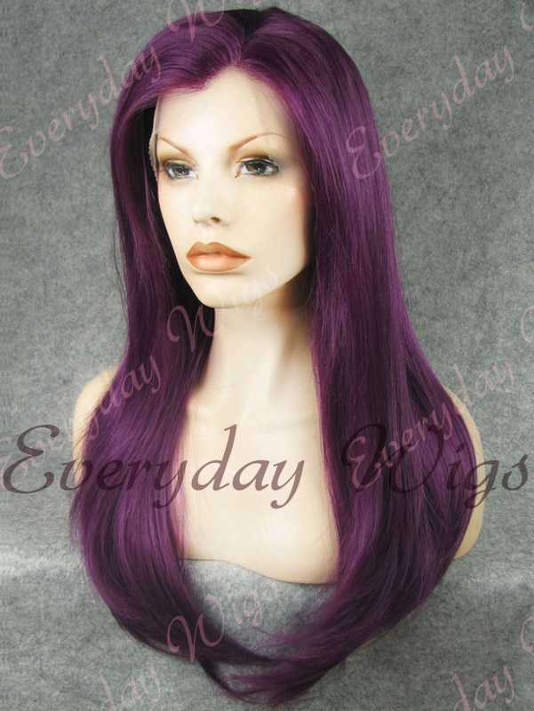 "24"" Purple Long Straight Synthetic Lace Front Wig - edw053"