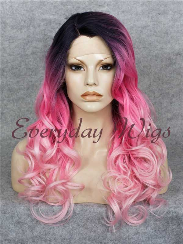"24"" Purple Long Straight Synthetic Lace Front Wig - edw054"