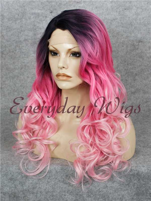 "24"" Ombre Pink Long wavy Straight Synthetic Lace Front Wig - edw054"