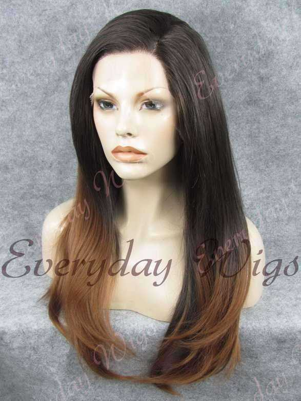 "24"" Brown Ombre Long Straight Synthetic Lace Front Wig - edw055"