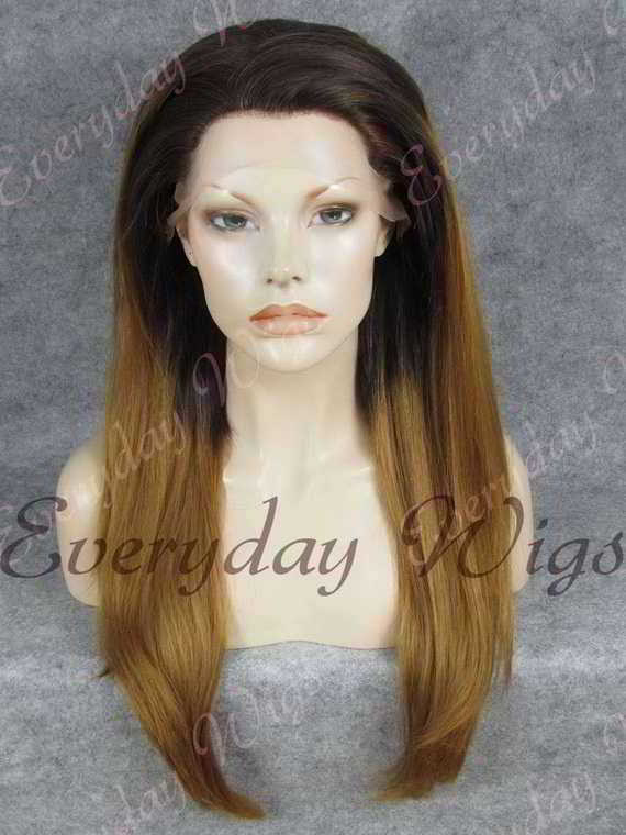 "24"" Brown Ombre Long Straight Synthetic Lace Front Wig - edw056"