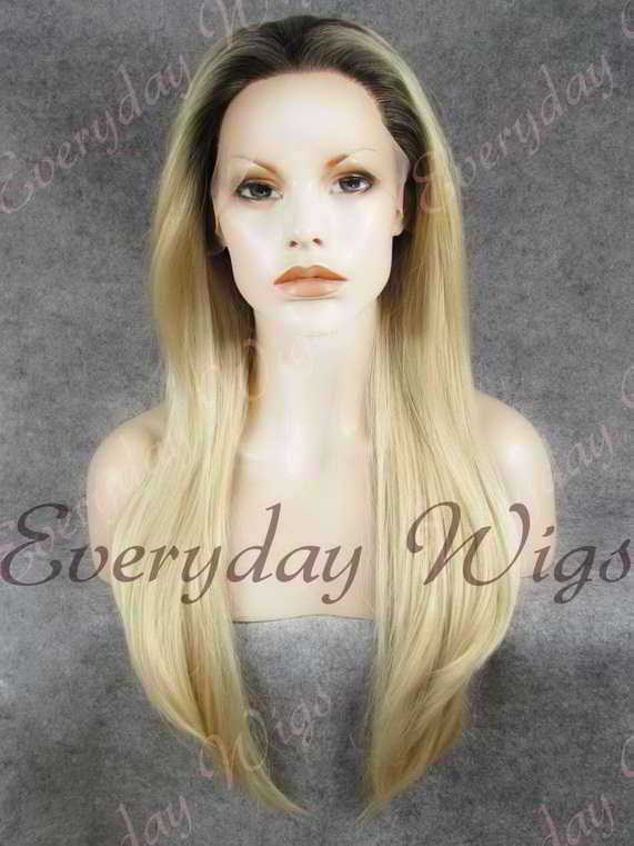 "24"" Blonde Ombre Long Straight Synthetic Lace Front Wig - edw057"