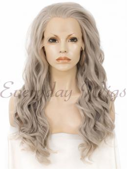 "24"" Grey Long Wavy Synthetic Lace Front Wig - edw060"