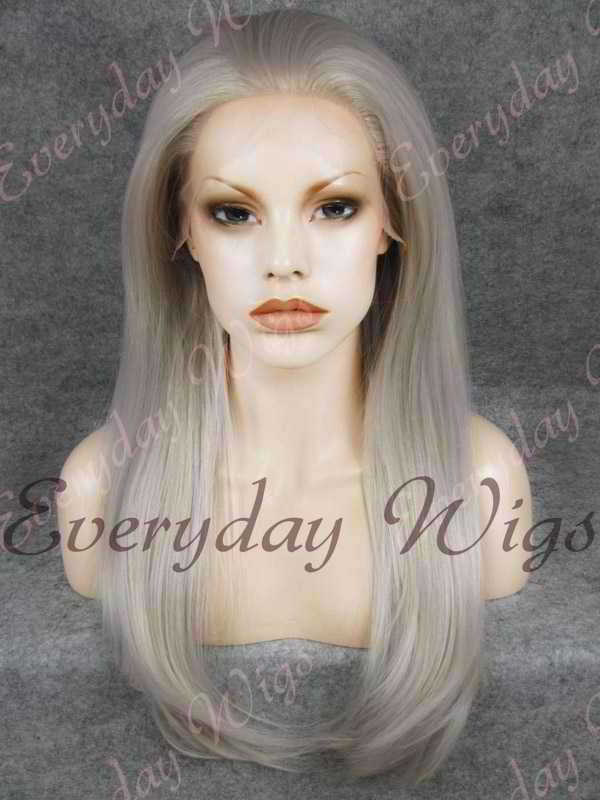 "24"" Grey Long Straight Synthetic Lace Front Wig - edw060"