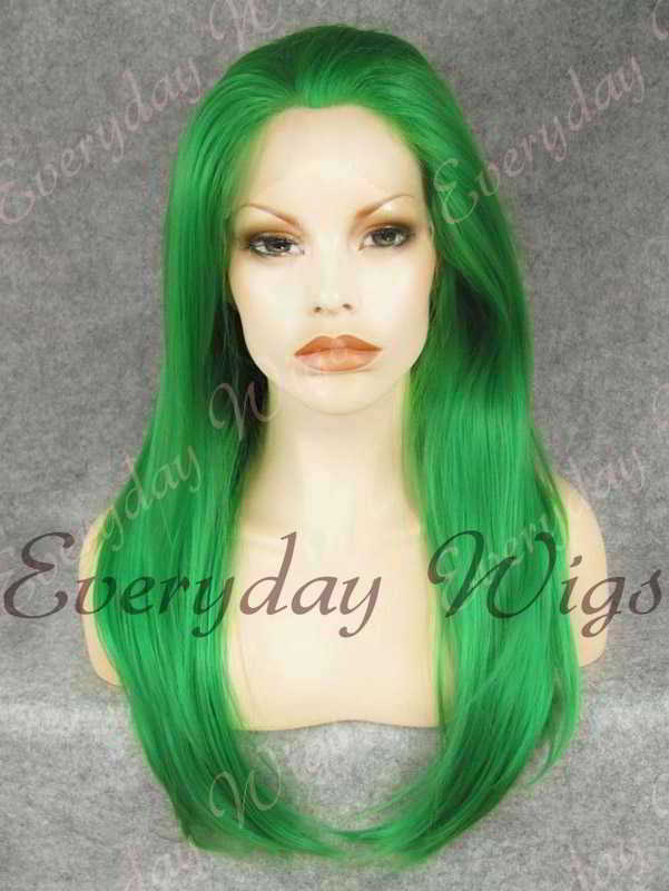 "24"" Green Long Straight Synthetic Lace Front Wig - edw061"