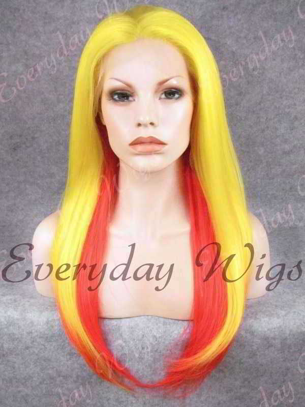 "24"" Two-tone Color Long Straight Synthetic Lace Front Wig - edw062"