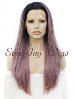 "24"" Ombre Long Straight Synthetic Lace Front Wig - edw063"