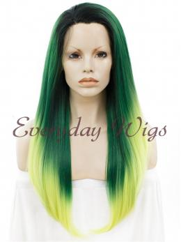 "24"" Ombre Green Long Straight Synthetic Lace Front Wig - edw064"