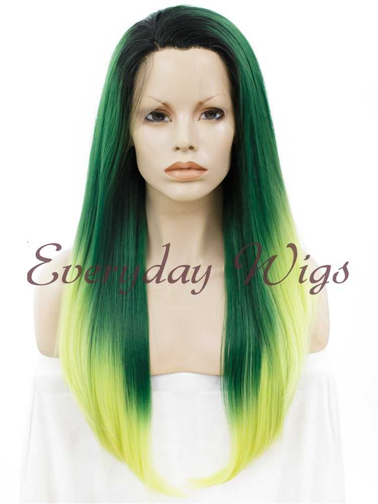 "24"" Colorful Long Straight Synthetic Lace Front Wig - edw064"