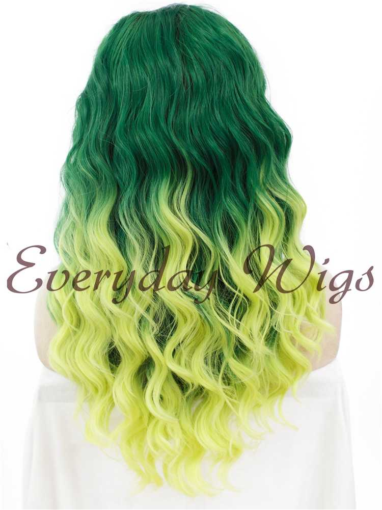 "24"" Ombre Green Long Wavy Synthetic Lace Front Wig - edw065"