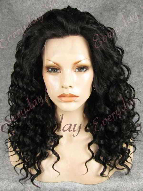 "24"" #1B-Off Black Long Curly Synthetic Lace Front Wig - edw067"