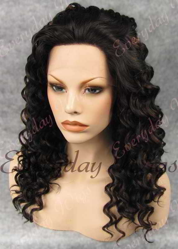 "24"" Highlight Color Long Curly Synthetic Lace Front Wig - edw069"