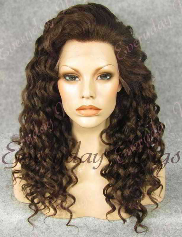 "24"" #3-Medium Dark Brown Long Curly Synthetic Lace Front Wig - edw070"