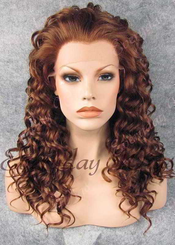 "24"" #30-Dark Auburn Long Curly Synthetic Lace Front Wig - edw072"