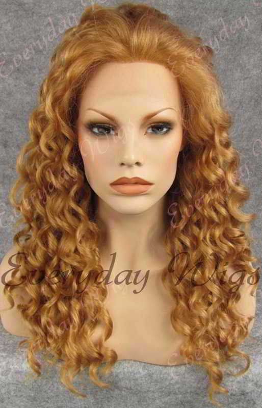 "24"" Long Curly Synthetic Lace Front Wig - edw073"