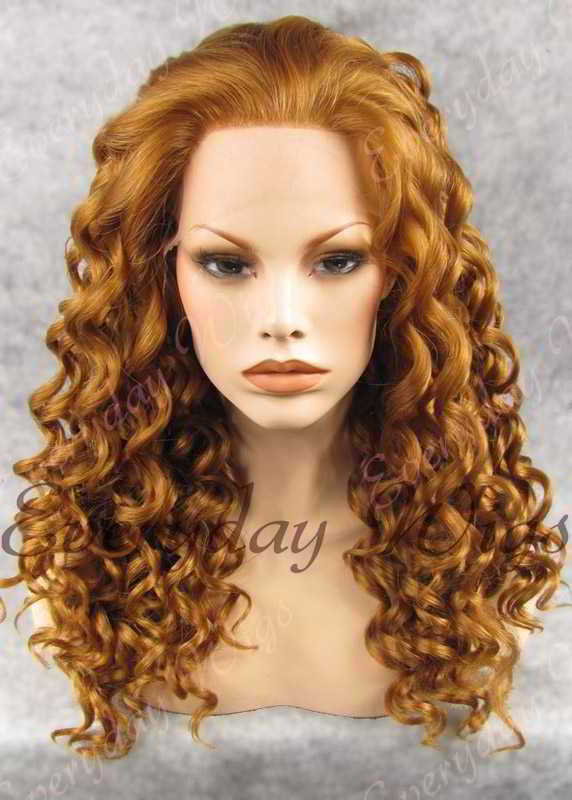 "24"" Long Curly Synthetic Lace Front Wig - edw075"
