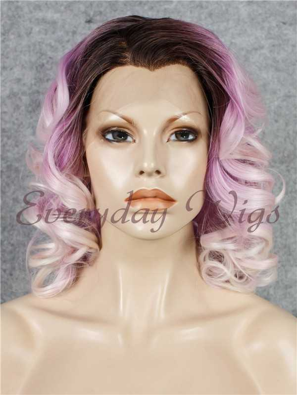 "24"" Long Curly Synthetic Lace Front Wig - edw076"