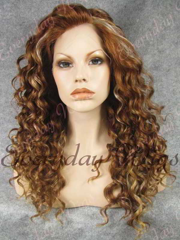 "24"" Highlight Color Long Curly Synthetic Lace Front Wig - edw077"