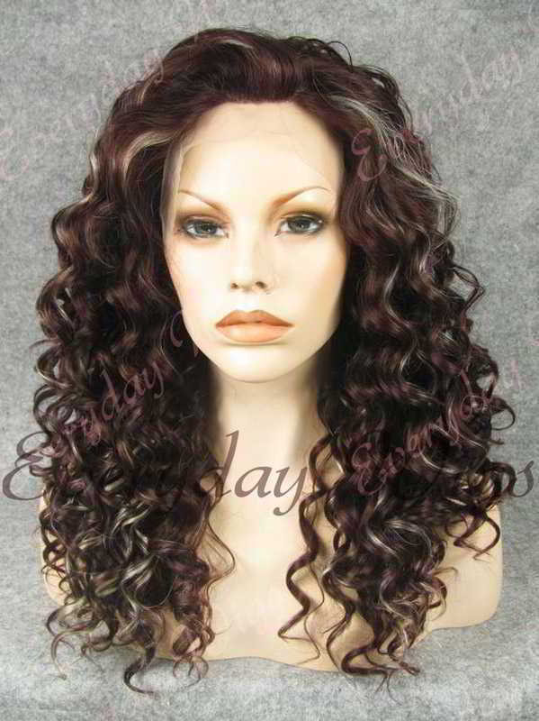 "24"" Highlight Color Long Curly Synthetic Lace Front Wig - edw079"