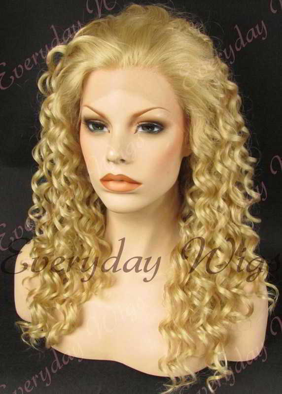 "24"" Long Curly Synthetic Lace Front Wig - edw081"