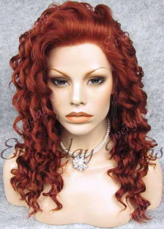 "24"" Reddish Brown Long Curly Synthetic Lace Front Wig - edw083"