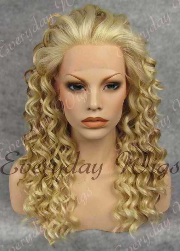 "24"" Highlight Color Long Curly Synthetic Lace Front Wig - edw085"
