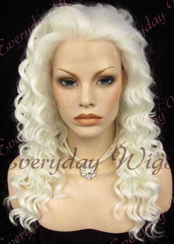 "24"" White Long Curly Synthetic Lace Front Wig - edw086"