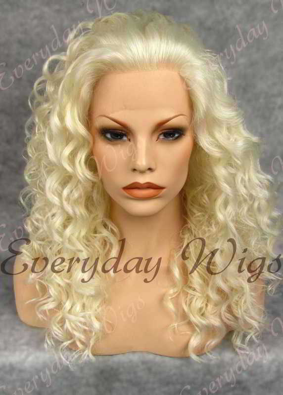 "24"" #613A-White Blonde Long Curly Synthetic Lace Front Wig - edw087"
