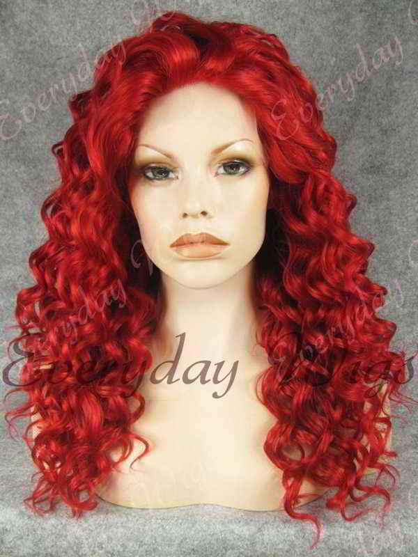 "24"" Red Long Curly Synthetic Lace Front Wig - edw088"