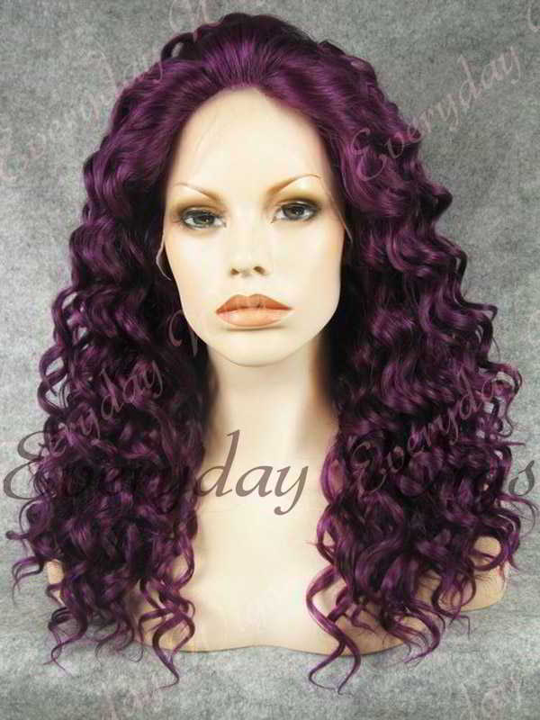 "24"" Purple Long Curly Synthetic Lace Front Wig - edw091"