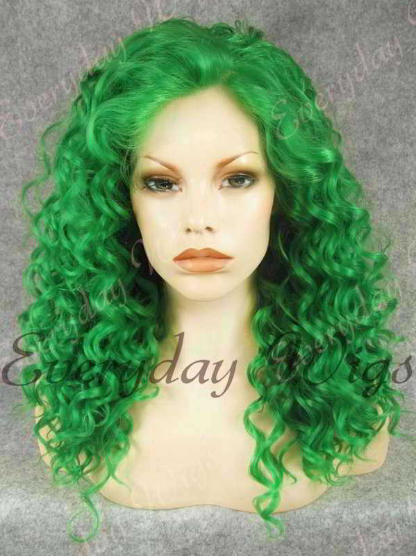 "24"" Green Long Curly Synthetic Lace Front Wig - edw094"