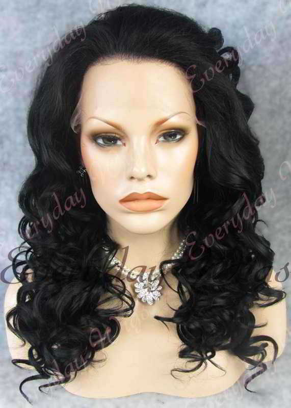 "24"" #1-Jet Black Long Wavy Synthetic Lace Front Wig - edw095"