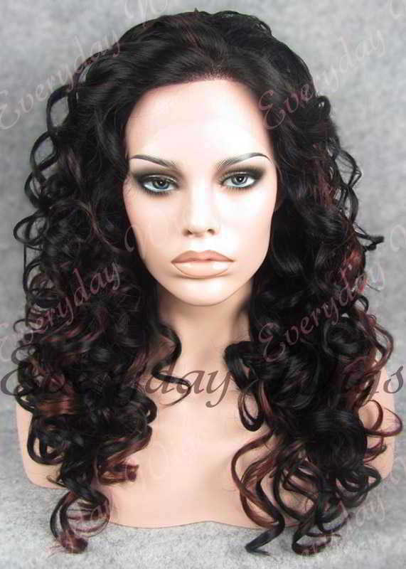 "24"" Highlight Color Long Wavy Synthetic Lace Front Wig - edw096"