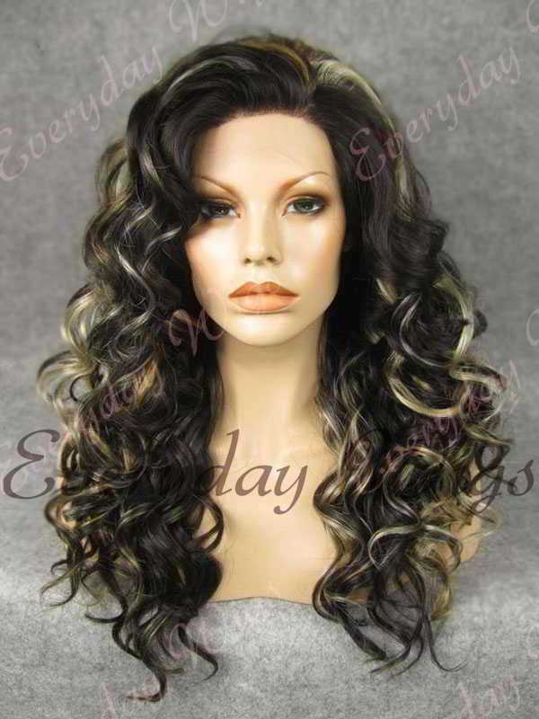 "24"" Highlight Color Long Wavy Synthetic Lace Front Wig - edw100"