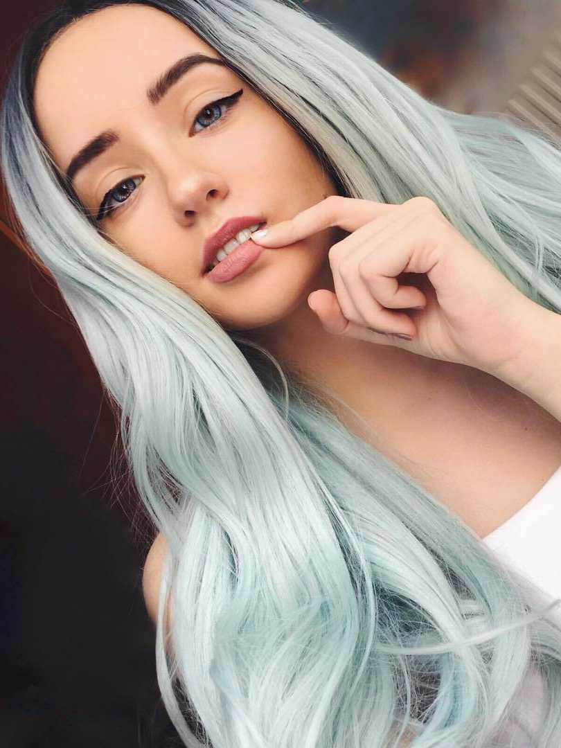 Pastel Green Ombre Wavy Synthetic Wigs-edw1001 - Click Image to Close