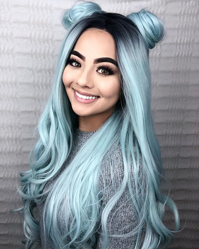 Pastel Green Ombre Wavy Synthetic Lace Front Wig-edw1001