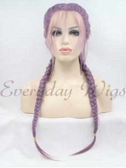 "24"" Purple Braided Synthetic Lace Front Wig-edw1002"