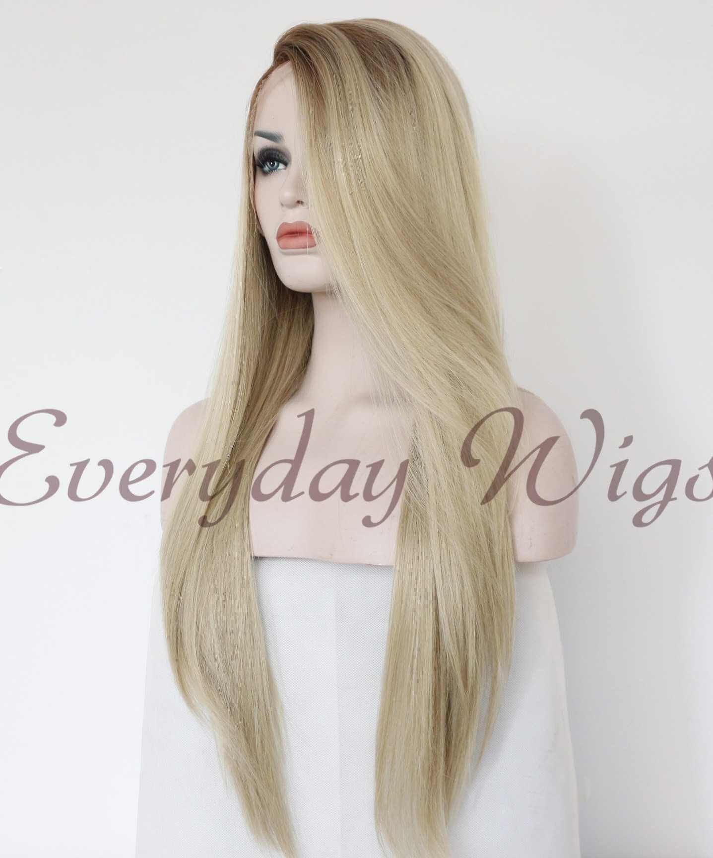 "24"" Blonde Ombre Long Straight Synthetic Lace Front Wig- edw1003"