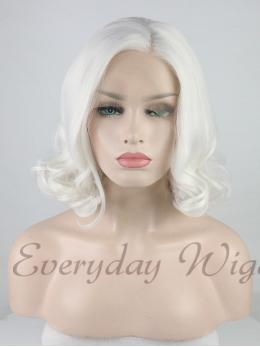 Short White Wavy Synthetic Lace Front Wig-edw1004