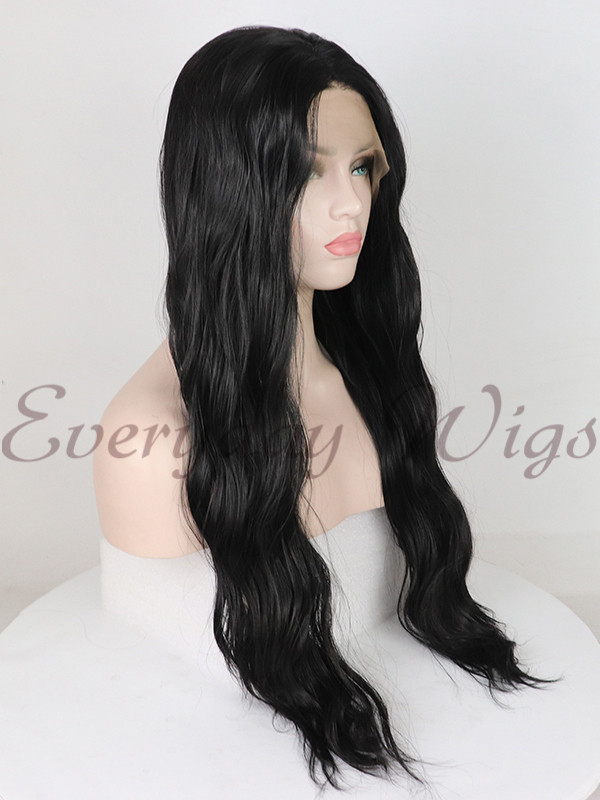 Black Wavy synthetic lace front wigs-edw1005