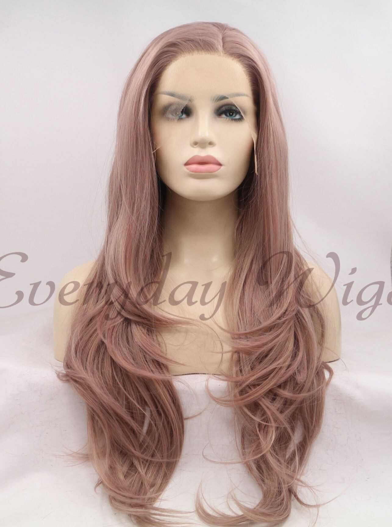 "24"" Pink Synthetic Lace Front Wig-edw1006"